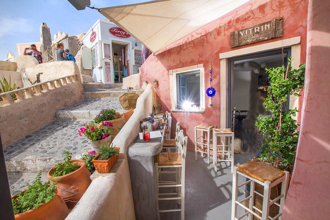 Vitrin Cafe Creperie Santorini Island Greece