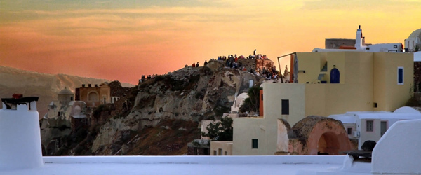 Blu Bianco Cave House Location Oia Santorini Sunset